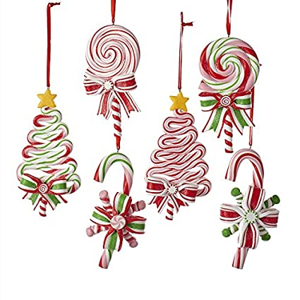Amazon.com: Kurt AdlerPEPPERMINT CANDY LOLLIPOP ORNAMENT - 6 ...