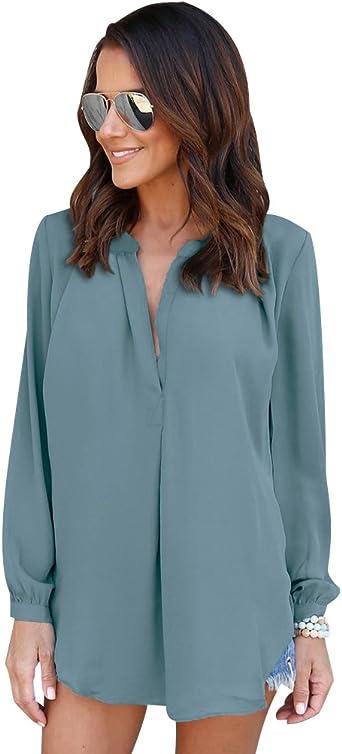 Blusa Gasa Blusas Manga Larga para Dama Camisas de Vestir Mujer Blusones Camisetas Largas Juveniles Top Cuello En V Tops Camisa Elegantes Anchas Verano Color Solido: Amazon.es: Ropa y accesorios