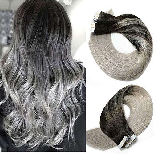 Tape In Hair Extensions Human Hair Balayage Ombre Hair 20pcs/50g Per Set Natural Black Fading to Silver Gray Double Sided Tape Skin Weft Remy Silk Straight Hair Glue in Extensions Human Hair 16 Inch