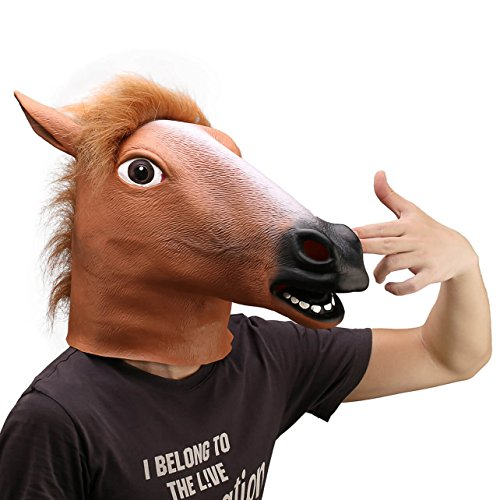 Ylovetoys Latex Horse Head Mask Halloween Costume Animal Masks (Brown) (Horse Costumes Head)