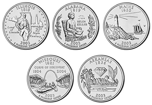 2003 P, D BU Statehood Quarters - 10 coin Set Uncirculated (Alabama State Quarter)
