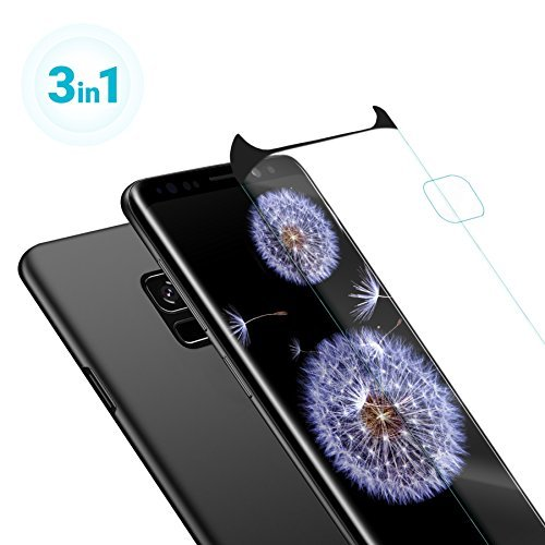 Galaxy S9 Case - Thinnest Slim Fit Black Matte Protective Samsung S9 Cell Phone Hard Plastic Ultra Thin Cover Shockproof Scratch Resistance Galaxy Case - Camera Lens - Screen Protector Tempered Glass