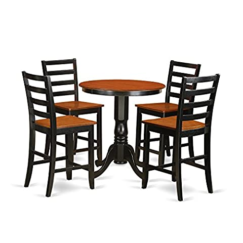 East West Furniture EDFA5-BLK-W 5 Piece Pub Table and 4 Dinette Chairs Set - Pub Table Dinette