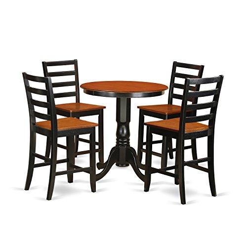 East West Furniture EDFA5-BLK-W 5 Piece Pub Table and 4 Dinette Chairs (Pub Dinette)