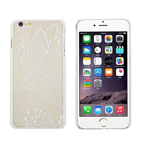 Culater® für iPhone 6 retro geschnitzte Damast Henna Blumen Tasche zurück case cover Hülle Weiß