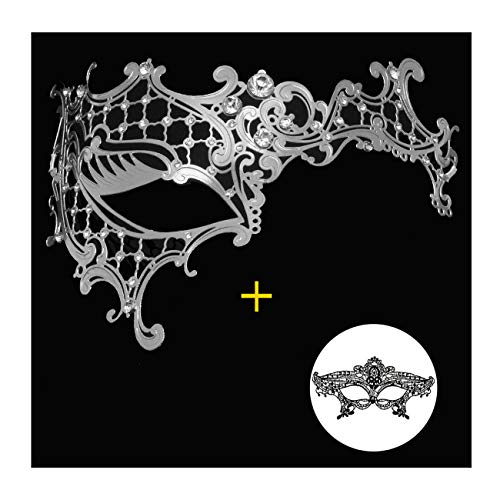 Masquerade Mask for Women Shiny Metal Rhinestone Mask Party Porm Ball Mask Free Lace Mask (Half face Silver)