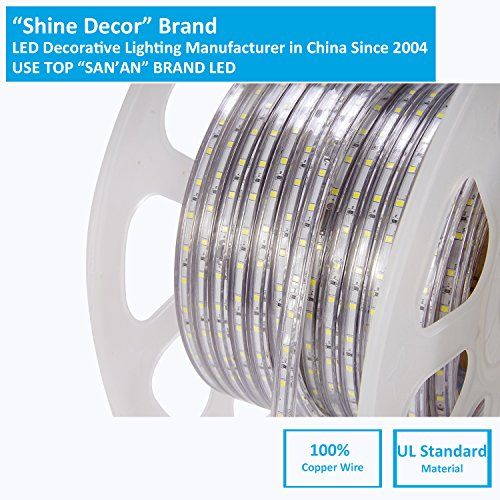 shine decor dimmable Led Strip Lights, Rope Light, High voltage 110V-120V, SMD 2835 60Led/M, 150ft/roll, 3000K Warm White, With plastic tube cover, flexible indoor/outdoor use, Accessories included by shine decor (Image #4)