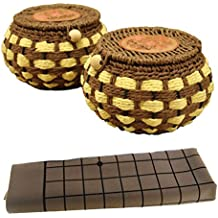 Genius Cells HQ Strategy Go Game Board Set Authentic Convex Yunzi Stones/19x19 Grid Board/10 Spare Stones/Classical Woven Bolws By Hand