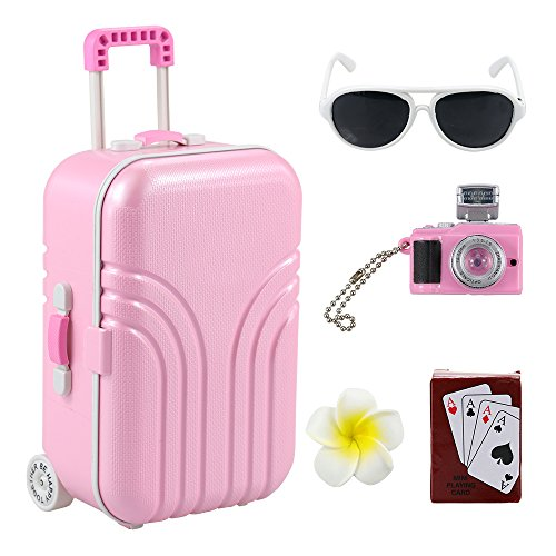 Barwa Travel Set Suitcase Pink Suitcase and Camera with Sunglasses Flower Hair Clip and Play Card for 18 inch American Girl Doll (Pink)