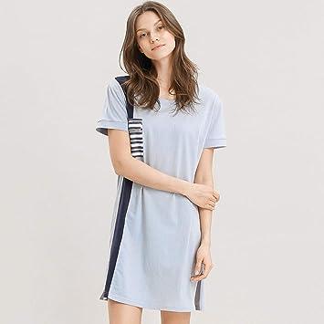 Pajamas Traje de Pijama, algodón con Bolsillos Albornoz, camisón de algodón, Manga Corta