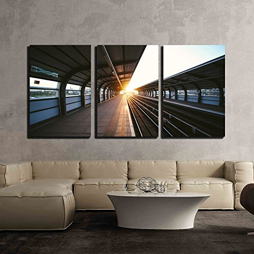 wall26 - 3 Piece Canvas Wall Art - Transportation System at Sunset - Modern Home Decor Stretched and Framed Ready to Hang - 24