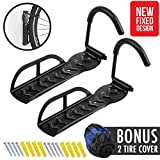 2pcs Vertical Bike Rack Wall Storage Hanger [NEW FIXED DESIGN] Hold Up to 66 lbs with Military Grade Steel and Anti Slip Rubber Hook for Mountain Bicycle Bike on Ceiling Indoor Storage Home Garage