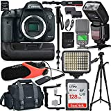 Canon EOS 7D Mark II DSLR Camera Body (Wi-Fi) Kit with Pro Photo & Video Accessories Including 128GB Memory, Speedlight TTL Flash, Battery Grip, LED Light, Condenser Micorphone, 60' Tripod & More
