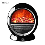 New Black,15'' 650/1200W Freestanding Electric Fireplace with 3D Flame Effect