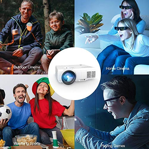 VIVIMAGE 2200 LUX Portable Projector, 50% Brightness LED Mini Projector, 40,000 Hours 1080P HD 170'' Display Video Projector, Support Fire TV Stick,USB SD Card, VGA, AV, TV, Laptop Game by VIVIMAGE (Image #4)