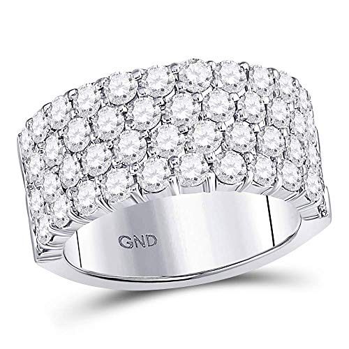 Jewels By Lux 14kt White Gold Womens Round Diamond 4 Row Pave Wedding Band 3.00 Cttw In Pave Setting (SI3 clarity; G-H color)