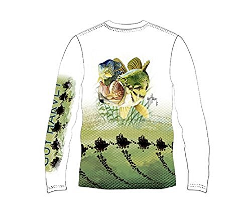 Guy Harvey Long Sleeve Performance Bass T-shirt (XX-Large, White)