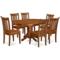 East West Furniture AVPO7-SBR-W 7-Piece Dining Table Set