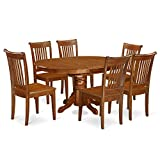 East West Furniture AVPO7-SBR-W 7-Piece Dining Table Set For Sale