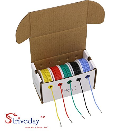 Striveday™ 30 AWG Flexible Silicone Wire Electric wire 30 gauge Coper Hook Up Wire 300V Cables electronic stranded wire cable electrics DIY BOX-1 by striveday (Image #6)