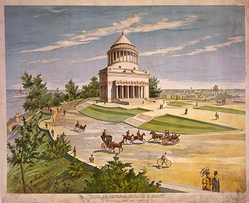 Lithograph Tomb of General Ulysses S. Grant, Riverside Drive, New York City c1885