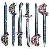 Liberty Imports Samurai Warrior & Pirate Foam Swords 6 Pack Large Toy Set for Kids - 2 Katanas 4 Rapiers