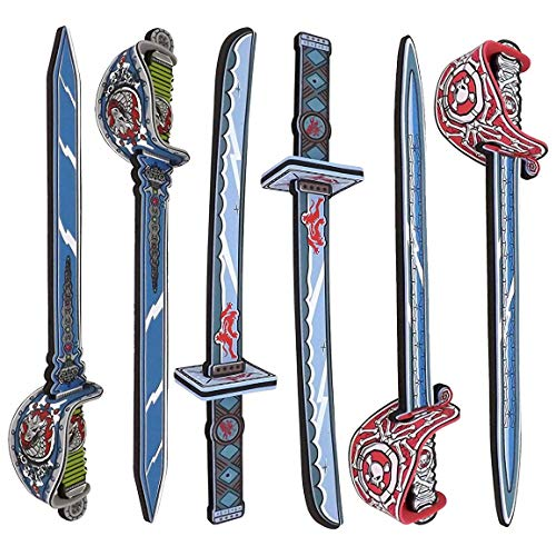 - Liberty Imports Samurai Warrior and Pirate Foam Swords 6 Pack Large Toy Set for Kids - 2 Katanas 4 Rapiers