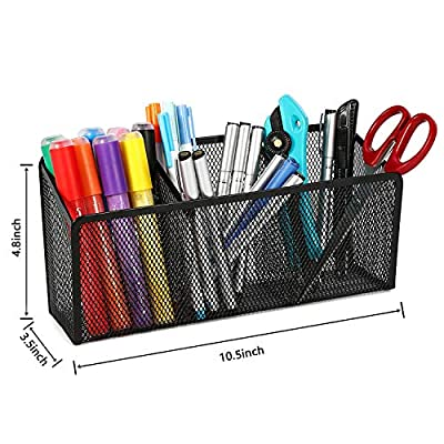 Magicfly Magnetic Pencil Holder with 3 Compartments, Magnet Metal Mesh Pen Cup with Strong Magnets, Refrigerator Storage Basket for Whiteboard, Fridge, Locker
