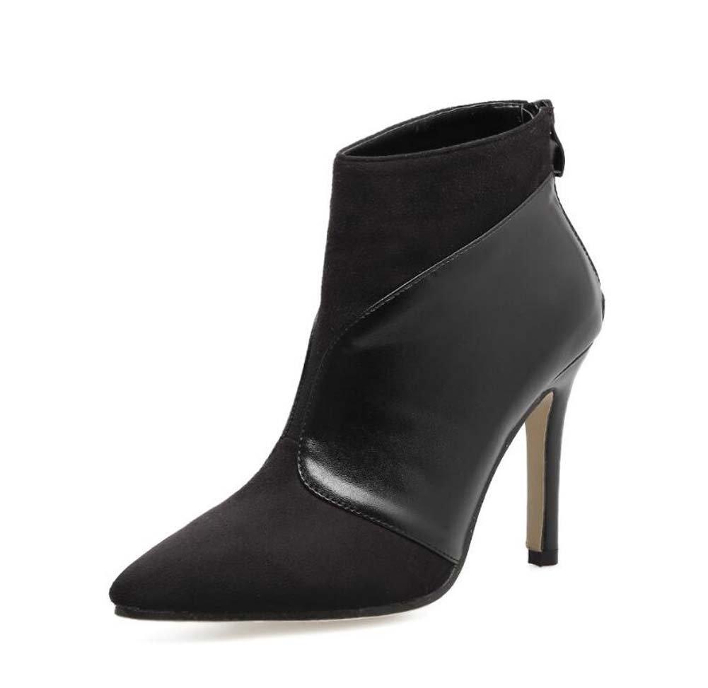 9.5cm Stiletto Scarpin Bootie pointé Toe Zipper Knight Boot Femmes Cheveux charmant + cuir Bottes à cheville Chaussures à chaussures Chaussures de cour Taille 34-40 Onfly