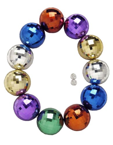 [Forum Mardi Gras Parade 48-inch Bead Necklace Super Jumbo Disco Balls, Multi-Colored, One Size] (Jumbo Mardi Gras Beads)