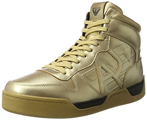 Armani Jeans Men's Sneaker High Cut Hi-Top Trainers, Black Yellow (Oro 00161)