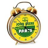 Large Twin Bell Alarm Clock Quartz Vintage Ad Clock in Shiny Gold Finish 8 inch dia
