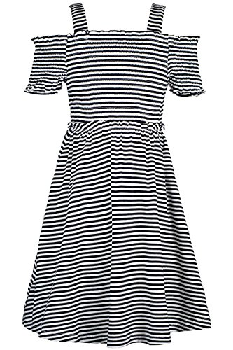 Pique Smocked Dress - Truly Me Stripe Smocked Top Baby Doll Dress 7-16 (Black - 14)