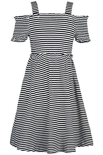 Truly Me Stripe Smocked Top Baby Doll Dress 7-16 (Black - 10)