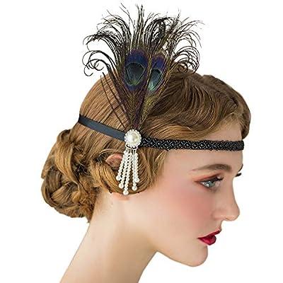 SWEETV 1920s Headpiece Flapper Headband, Pearl Peacock Feather Fascinator, Great Gatsby Accessoreis for Women