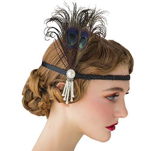 SWEETV 1920s Headpiece Flapper Headband, Pearl Peacock Feather Fascinator, Great Gatsby Accessoreis for Women, Black