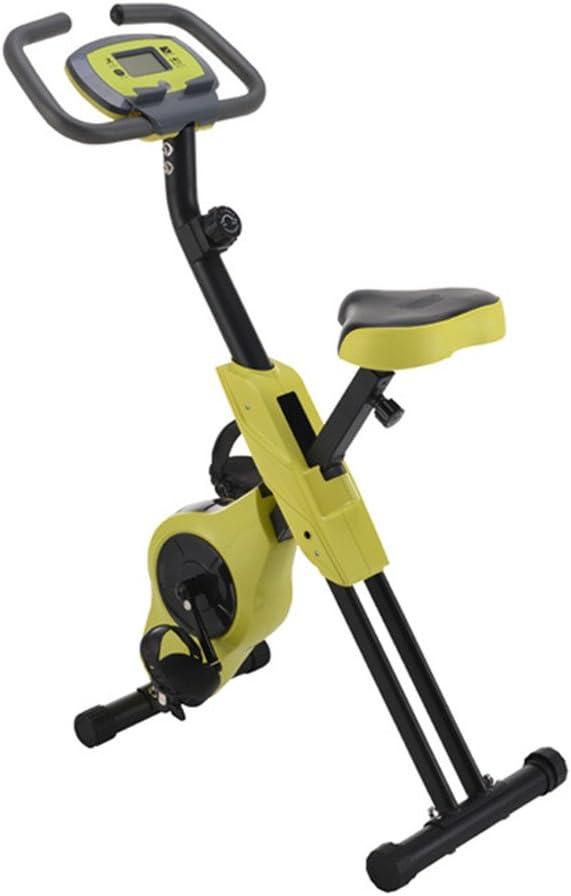 X型屋内スピニング自転車折りたたみ自在磁気制御屋内用オフィスエクササイズバイク (色 : 黄) 黄