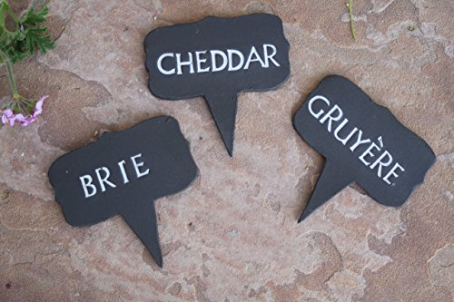 (Black Clay Cheese Markers set of 3, handmade ceramic food tags)