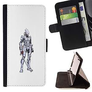 - knight swordsman medieval white pencil - - Prima caja de la PU billetera de cuero con ranuras para tarjetas, efectivo desmontable correa para l Funny HouseFOR Samsung Galaxy Note 3 III