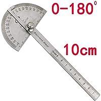 Rcool Multifunctional Stainless Steel 180 Degree Angle 10cm Measurement Protractor Ruler DIY Measuring Folding Ruler Angle Engineer Protractor Gauge Painting Drawing Measuring Instrument Ruler Tool