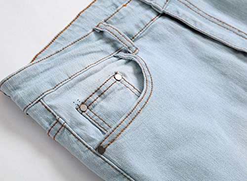 GARMOY Men's Fashion Light Blue Ripped Destroyed Flower Embroidered Skinny Fit Jeans Blue 32 by GARMOY (Image #3)