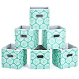 MaidMAX Fabric Storage Bins, Set of 6 Foldable Cloth Storage Cubes Organizers Drawers Containers with Dual Plastic Handles for Home Office Nursery Organization, Aqua Flower, Green