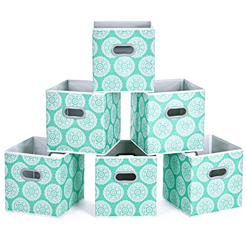MaidMAX Cloth Storage Cubes, Cube Organizer Bins, Foldable Storage Baskets with Dual Plastic Handles for Home Office Nursery Drawers Organizers, Aqua Flower, Green, 10.5×10.5×11inches, Set of 6 (Aqua Plastic Storage Bin)