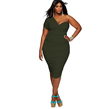 Plus Size One-Shoulder Ruched Bodycon Dress (Army Green) at Amazon ... 870b06692c28