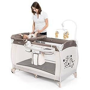 Hauck - Babycenter Zoo Lit parapluie bébé avec table à langer et réducteur de hauteur nouveau-né, plan à langer, mobile musical, porte-accessoires, roulettes, matelas, sac de transport 11