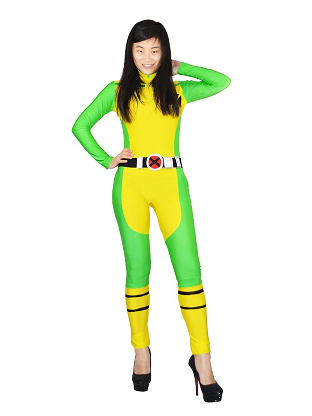 Amazon Com X Men Rogue Spandex Superhero Costume With Belt Lady