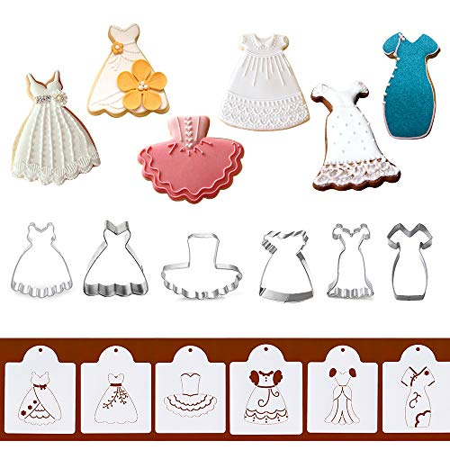 (Dress Cookie Cutters with Matching Cookie Stencils - Set of 12-6Pcs Cookie Cutter and 6Pcs Cookie Stencils, Include Braces Skirt, Wedding, Black Dress, Little Girl, Tutu and Princess Dress)