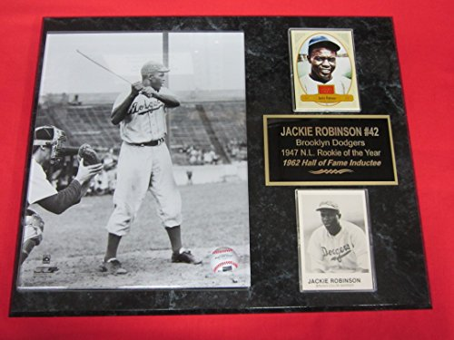 - Jackie Robinson Brooklyn Dodgers 2 Card Collector Plaque w/8x10 VINTAGE Rookie Year Photo