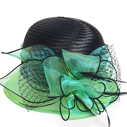 - HISSHE Sweet Cute Cloche Oaks Church Dress Bowler Derby Wedding Hat Party S606-A, Green, Medium
