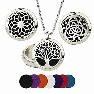 "Lifetime Tree of Life -Celtic - Sunflower Essential Oil Diffuser Necklace with 22"" chain and 7 felt pads - Aromatherapy Stainless Steel"